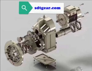 Parallel shaft helical gearbox exploded view