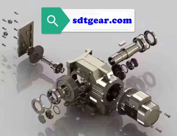 Right angle bevel gearbox exploded view