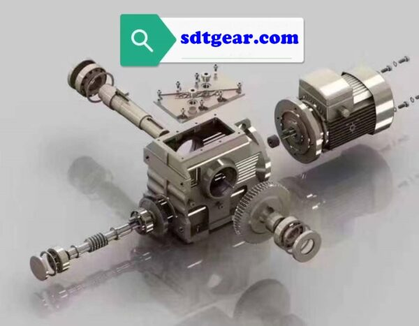 Right angle worm gearbox exploded view